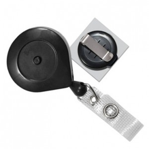 Black Smart Reel with Quick Lock and Release Button, Reinforced Vinyl Strap & Slide Type Belt Clip