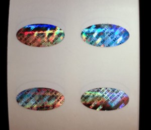 "Standard Oval Hologram Sticker .75"" x .375"" -1000"