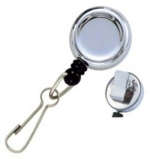 Standard Chrome-Tone Round Key Reel -Bulldog Clip