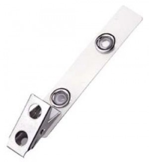 Standard 2-Hole Badge Clip - Clear Mylar Strap